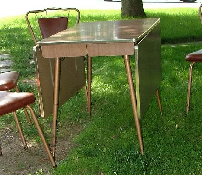 ... 1950s Walter Of Wabash Kitchen Set Formica Drop Leaf Table U0026 4 Wire  Back Chairs ...