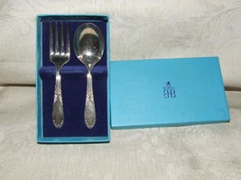 c1936-51 2 pc BABY SET King Edward Silverplate National Silver BIRKS BOX... - $28.00