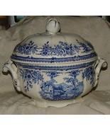 1836+ Davenport Staffordshire Blue White Chamber Pot w/ Lid Swiss Lake &... - $425.00