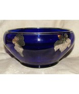 1920s Beautiful Vintage TIFFIN Cobalt Blue BOWL Silver Overlay Grapes Leaves - £199.40 GBP