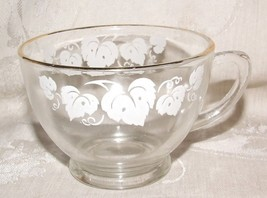 14 Vintage PUNCH CUPS 1950s+ Anchor Hocking #76 Clear White Grape Leaf Gold Trim - $56.00