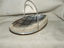 ROYAL MOSAIC Silverplate Tarnish Resistant Oval Dish Twisted Handle GERMANY - $14.85