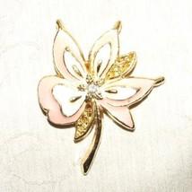 Vintage 1980s Pink & Cream Enamel Flower Pin Brooch Unbranded - $8.00