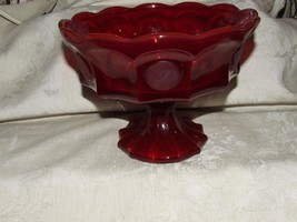 "LOVELY 1969-81 FOSTORIA Coin Glass RUBY RED Large 6 1/2"" High Open Compote - $60.00"