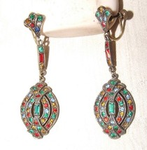 Flashy 1940s Brass Multi Stone Dangle Screwback Earrings BIG BAND SINGER... - $125.00