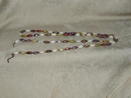 "1960s 50"" long JASPER Stone Necklace Oval Rice Shape Beads Brecciated Va... - $125.00"