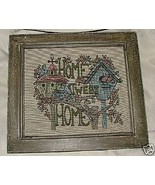 HOME TWEET HOME Bluebirds Machine Embroidered Needlepoint Rustic Frame - $25.00