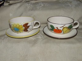 Vintage 1960s Pair Large Soup Cups Mugs and Saucers JAPAN Hand Painted - $29.70