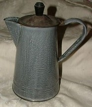 Grey Mottle Graniteware Coffee Pot Tin Lid Seamed L@@K - $94.05