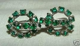 Vintage 1950s Screw Back Earrings Prong Set Emerald Green Rhinestones - $15.00