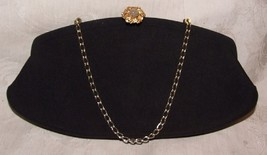 1950s Black Clutch Bag Purse Goldtone Moonstone Floral Clasp Convertible... - $50.00