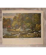 Vintage 1950s Currier & Ives Reprint LIFE IN THE WOODS Returning to Camp... - $15.00