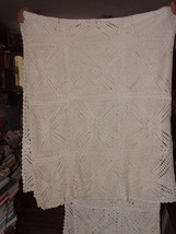 Antique 4 Poster Cut Hand Crochet Twin SINGLE Coverlet Bed Spread Ecru H... - $350.00