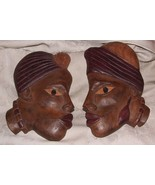 Vintage Pair Male Female Carved Wood African Heads Flat Back Profiles Si... - $155.00