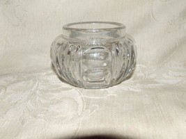 HEISEY #5 Antique Round Puff Box Vanity Jar NO LID Oval Thumbprints & Grooves - $35.00
