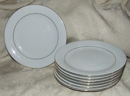 "7 ELEGANT GOLD Fine Porcelain 7 1/2"" Salad Dessert Plates Fine Condition... - $56.00"