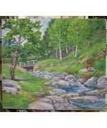 Henry F Bultitude 20th Century American Oil on Canvas Bridge over Rocky ... - $975.00