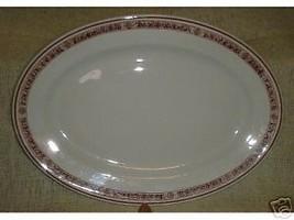 "1940-50s 15"" Oval PLATTER Royal Jackson China STONEWARE Red Stylized Border - $50.00"