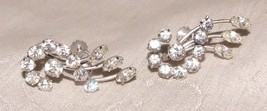 Vintage 1950s Pair Krementz Rhinestone Spray Silvertone Earrings All Pro... - $30.00