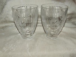 Vintage 1960s Pair Heavy Clear Crystal Shades Chimneys Etched Florals Cut Ribs - $55.00