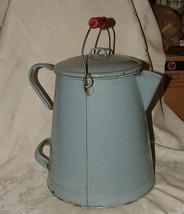 Antique Huge Grey Gray Fleck Graniteware Camp Coffee Pot Enamelware Bail... - $165.00