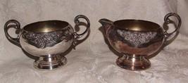 Heavy Victorian Bristol Silver Silverplated Sugar Bowl & Creamer Grape Vine - $85.00