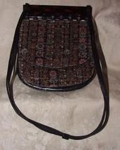 Vintage Catalan Bakelite Black Leather Velour TAPESTRY Purse Shoulder Bag - $85.00