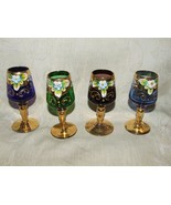 Vintage 1950s 4 Color Stemmed Cordials Murano Italy Venetian Glass Heavy Gilt - £60.81 GBP