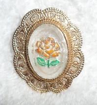 Vintage 1950s Reverse Painted Orange Rose Flower Pin Brooch Goldtone Fil... - $10.00