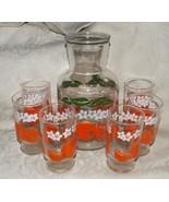 VINTAGE c1957 Anchor Hocking ORANGES Blossoms JUICE SET Carafe & 6 Glasses - $115.00