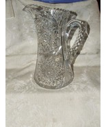 American Brilliant Period Tall Cut Glass Pitcher Hobstars Fans Notched H... - $375.00