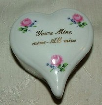 Lefton Label Heart Trinket Box You're Mine Mine - All Mine Japan - $15.00