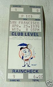 Primary image for 1979 Raincheck Ticket Stub NY Mets at San Francisco