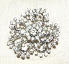 BEAUTIFUL 1940s PIN Rhinestone Flower Double Swirl 83 Prong Hand Set Stones - $175.00