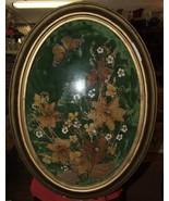 Antique Victorian Convex Glass Large DRIED FLOWER ARRANGEMENT Oval Gilt ... - $225.00