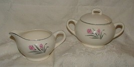 Vintage 1950s Salem China TULIP TIME Sugar w/ Lid & Creamer MINT Conditi... - $29.70