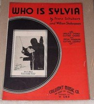 1935 Sheet Music WHO IS SYLVIA Franz Schubert William Shakespeare Ukelel... - $10.00