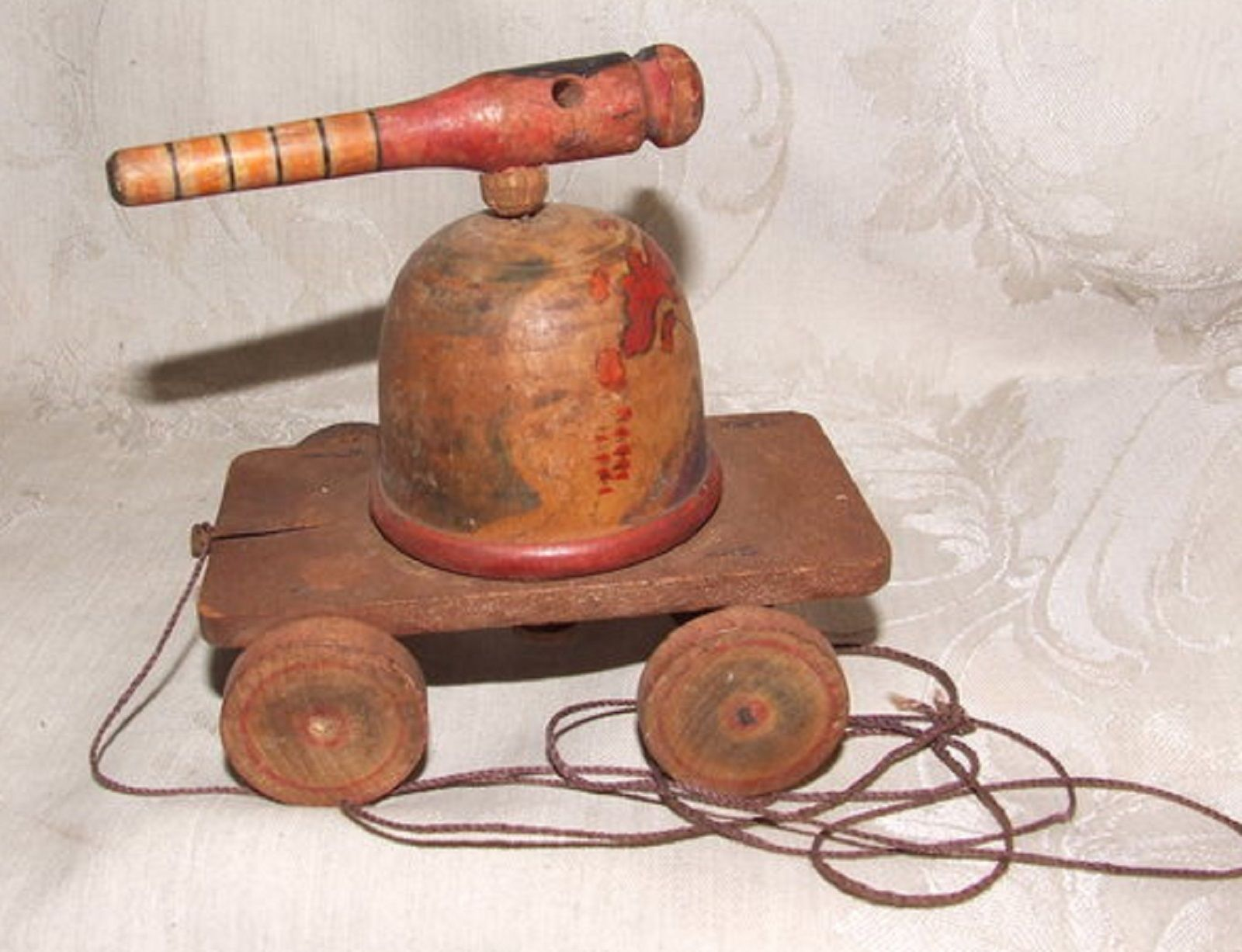 Antique Primitive Hand Made FOLK ART Wood Domed Cannon PULL TOY on Wheels