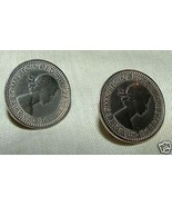 Pair 1953 Queen Elizabeth English Farthing COIN Screwback Earrings Coron... - £15.43 GBP