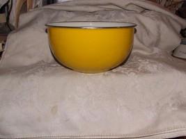 Lovely Bright Yellow Graniteware Porcelain Enamel BOWL Metal Rim White I... - $40.00