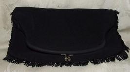Vintage 1970s Black Satin Fold Over Clutch Purse Evening Bag Handbag Purse - $35.00