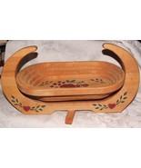 Folk Art 1990's Robert Wittman Collapsible Wood Basket Apples Santa Barb... - $55.00