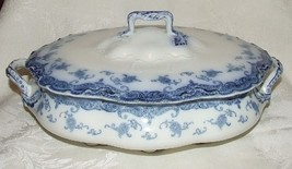 ANTIQUE 1907 MEAKIN OLYMPIA Flow Blue COVERED VEGETABLE BOWL Staffordshi... - $183.15