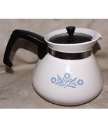 P-104 CORNING Cornflower Blue 6 Cup Teapot Tea Pot FINE Original Black Lid - $35.00