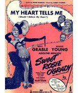 1943 Sheet Music MY HEART TELLS ME Betty Grable Robert Young Sweet Rosie... - $10.00