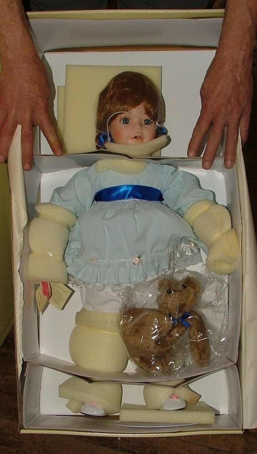 "Primary image for 26"" Elite Porcelain Artist Doll ABBY w/ Teddy Bear by Penelope Carr NEW in Box"