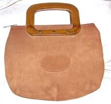 VINTAGE 1960s Orange-y Suede Zip Top Handbag Purse Bag WOOD Handles L@@K - $84.15