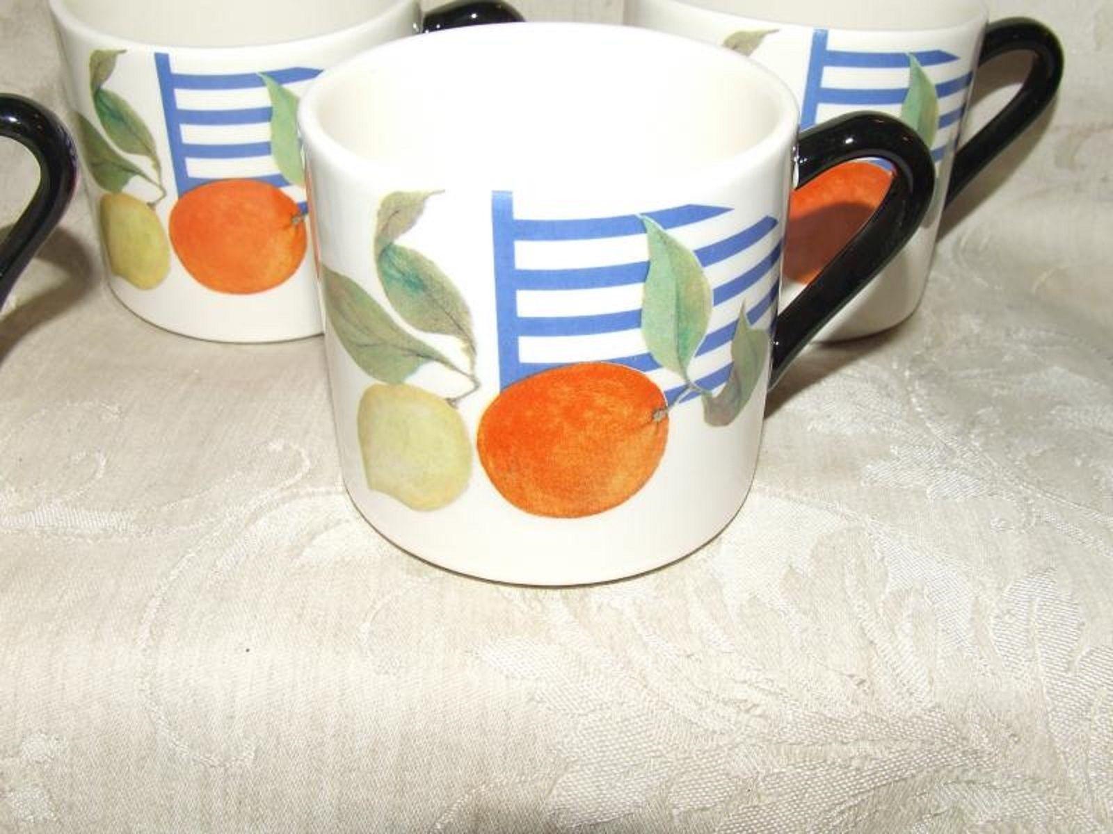 "Gien China France La Ronde des Fruits 6 Small Flat Cups 2 5/8"" aka Half Mugs - $118.80"