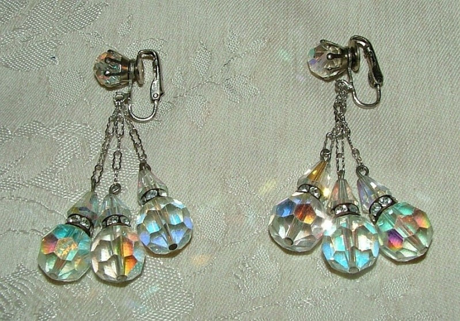 Primary image for 1950s Clip Aurora Crystal Dangle Earrings Black w/ Rhinestone Bands Silvertone