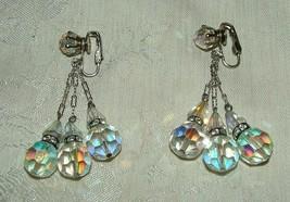 1950s Clip Aurora Crystal Dangle Earrings Black w/ Rhinestone Bands Silv... - $45.00